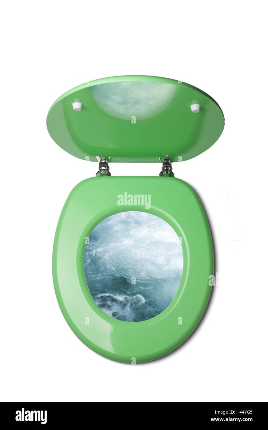 Toilet lid, toilet, sea freshness, copy space Stock Photo
