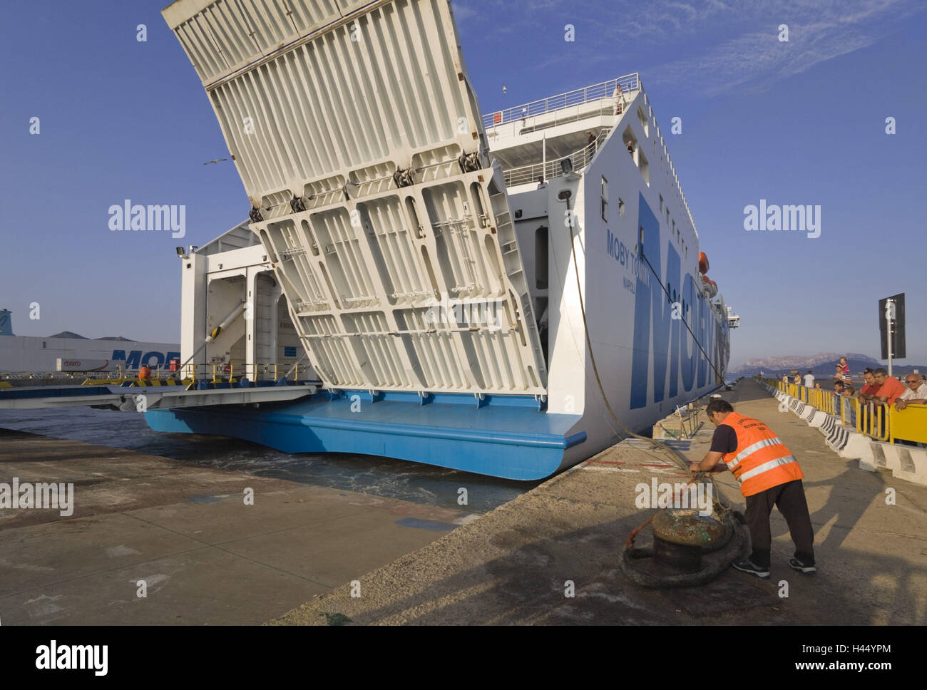 Italy, Sardinia, 'Moby Line' ferry, Olbia, harbour, - Stock Image