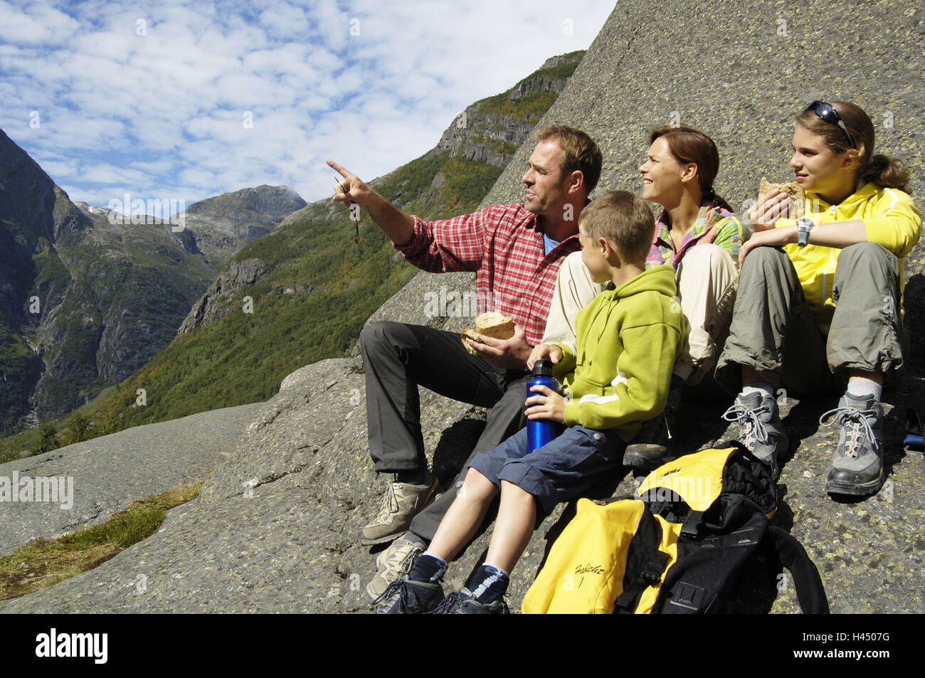 Mountains Family Traveling Pause Mountain Panorama Enjoy Explains Series People Parents Children Boy Girl Hike Rocks Sitting