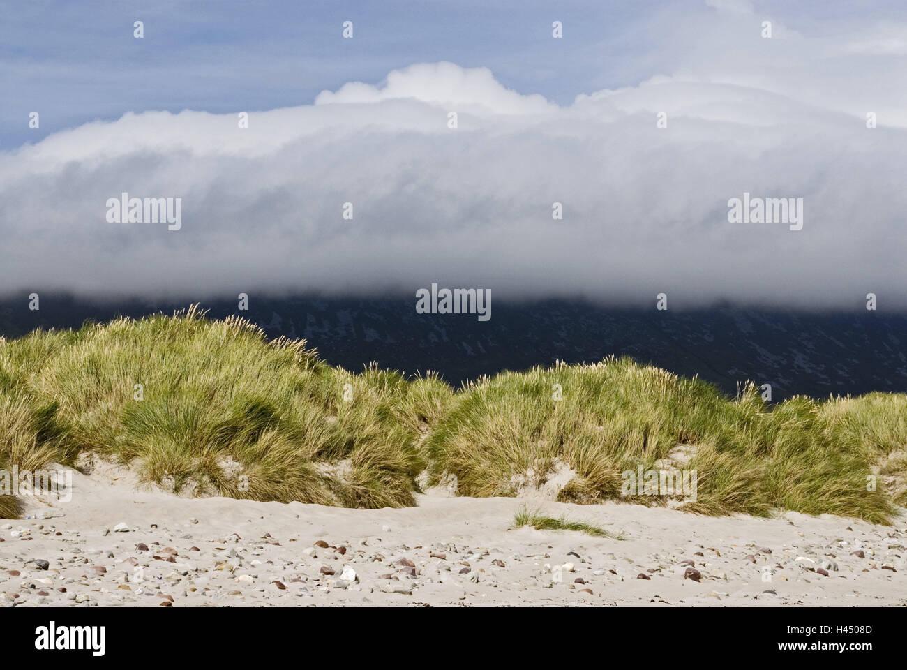 Ireland, Mayo, Achilles Iceland, Keel, beach, dune grass, clouds, heavens, blue, Connacht, coast, sandy beach, dune, - Stock Image