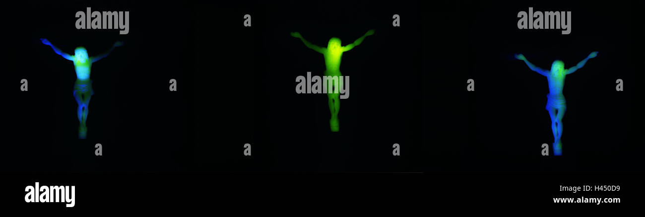 Plastic crucifixes, phosphorescent, blur, plastic, plastic, Phosphoreszenz, luminescence, crosses, shine, three, - Stock Image
