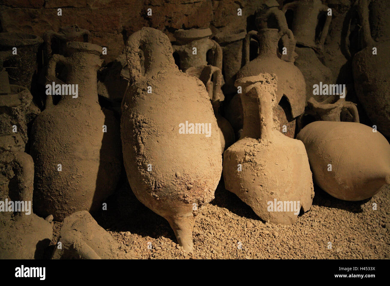 Croatia, Istria, Pula, arena, museum, excavations, tone vessels, detail, Europe, destination, town, place of interest, - Stock Image