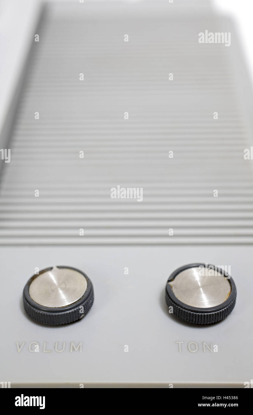 Record player, detail, volume regulator, tone controller, - Stock Image