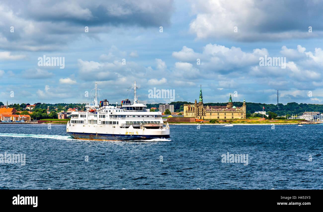 Helsingor - Helsingborg ferry and the Castle of Kronborg in Denmark - Stock Image