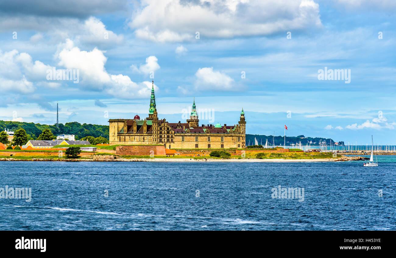 View of Kronborg Castle from Oresund strait in Denmark - Stock Image