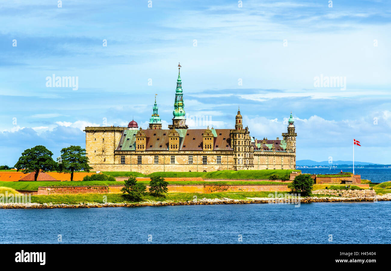 View of Kronborg Castle from Oresund strait in Denmark - Stock Image