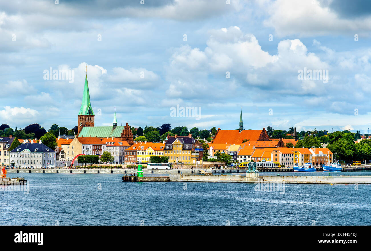 View of Helsingor or Elsinore from Oresund strait in Denmark - Stock Image