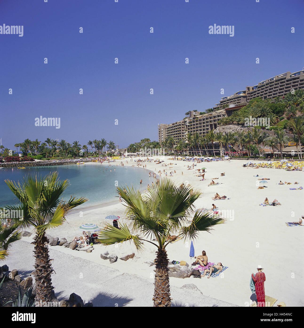 Spain, the Canaries, island grain Canaria, Arguineguin, hotel 'club Puerto Anfi', beach, sea, destination, - Stock Image