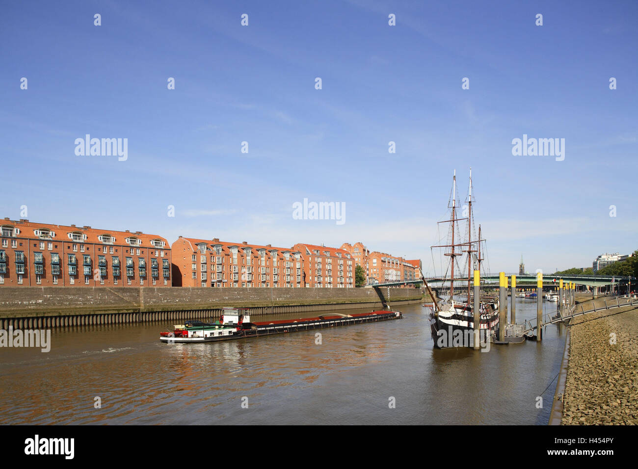 Germany, Bremen (city), Schlachte Embankment, Teerhof, Pannekoekschip, cargo ship, river Weser, Northern Germany, - Stock Image