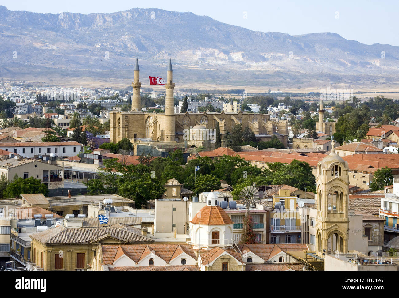 Cyprus, Nicosia, town view, Old Town, steeples, minarets, - Stock Image