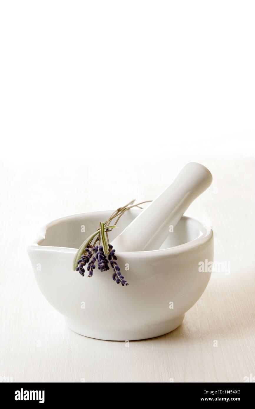 Mortars, tappets, lavenders, Lavandula, officinalis, health, medicine, grind, grind, chop up, pestle, cures, alternatively, - Stock Image