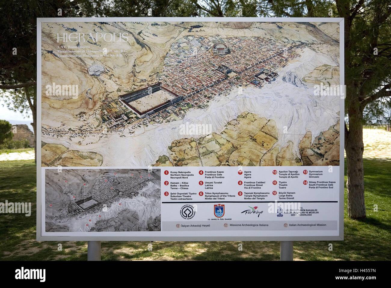 Turkey, province Denizli, Hierapolis, orientation notice board, city ...