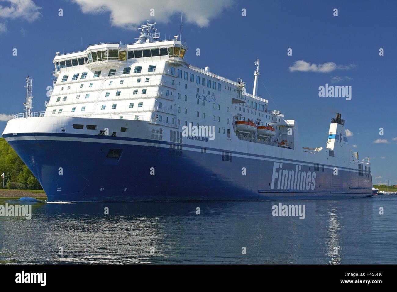 Germany, Schleswig - Holstein, Travemünde, harbour, ferry, - Stock Image