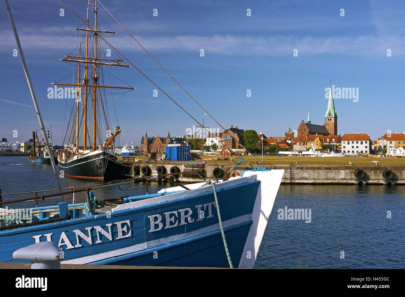 Denmark, Helsingoer, fishing trawler, fishing harbour, sailing ship, Old Town centre, church, - Stock Image