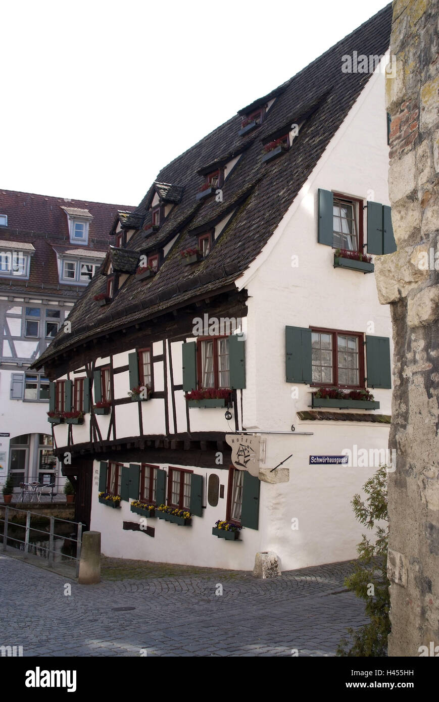 Germany, Baden-Wurttemberg, Ulm, 'oblique house, tanner's fourth, Old Town, - Stock Image