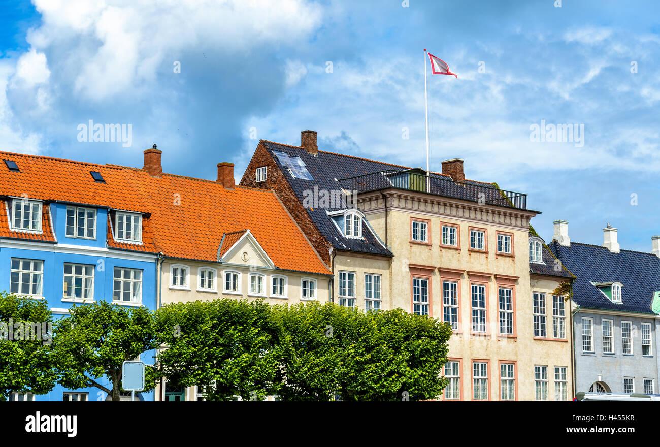 Buildings in the old town of Helsingor in Denmark - Stock Image