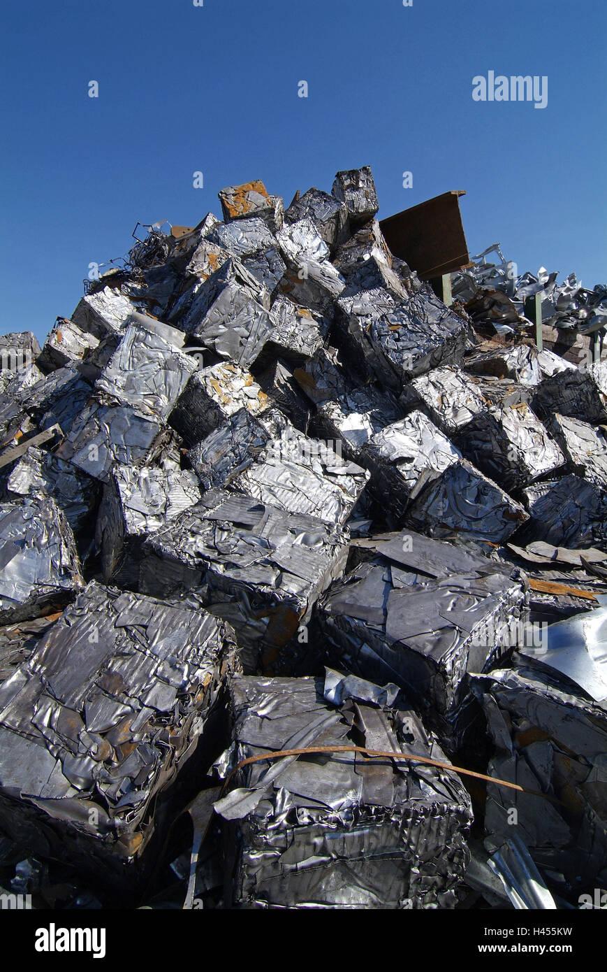 Scrap yard, scrap metal, pressed, - Stock Image