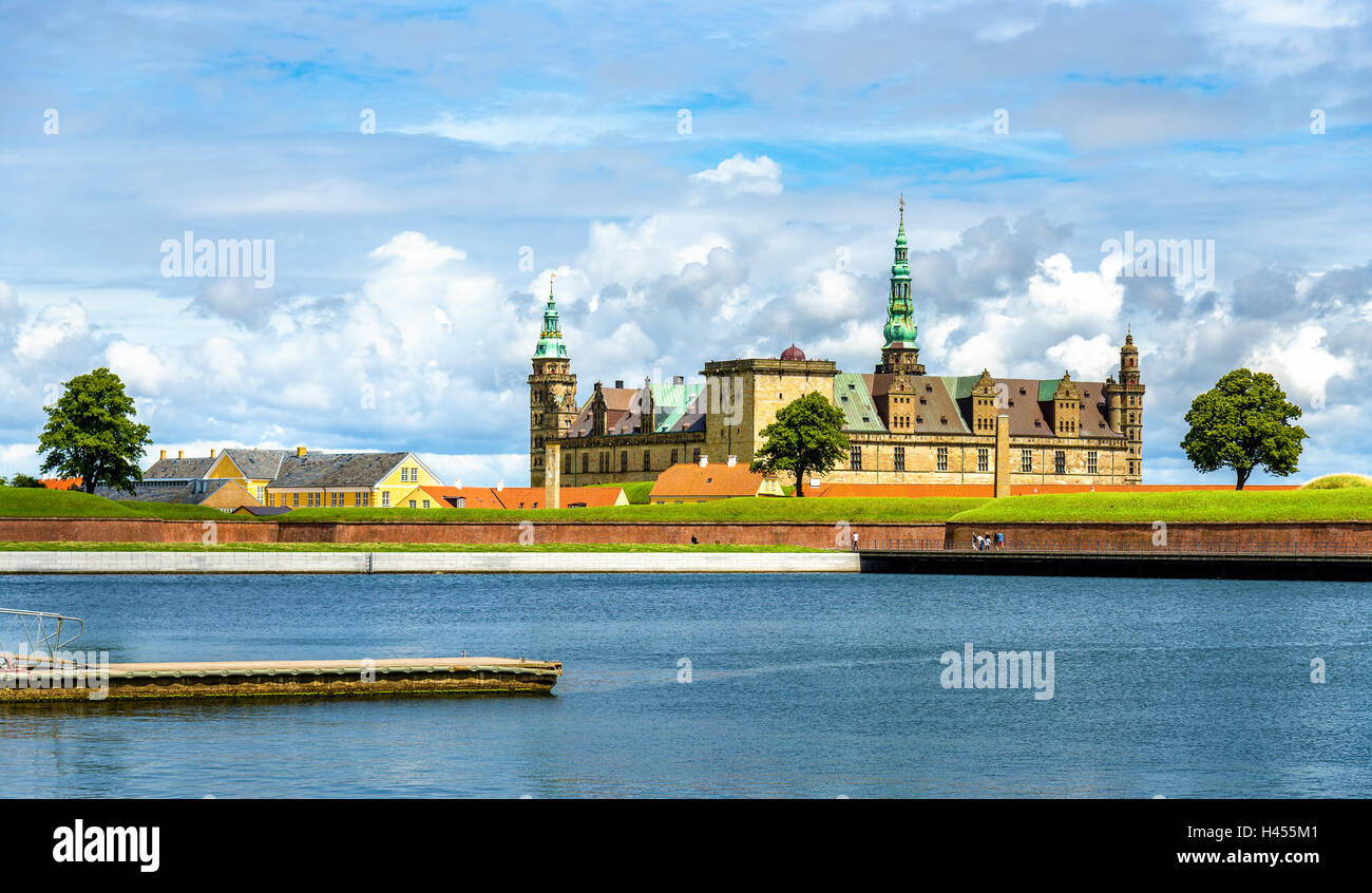 View of Kronborg Castle from Helsingor port in Denmark - Stock Image