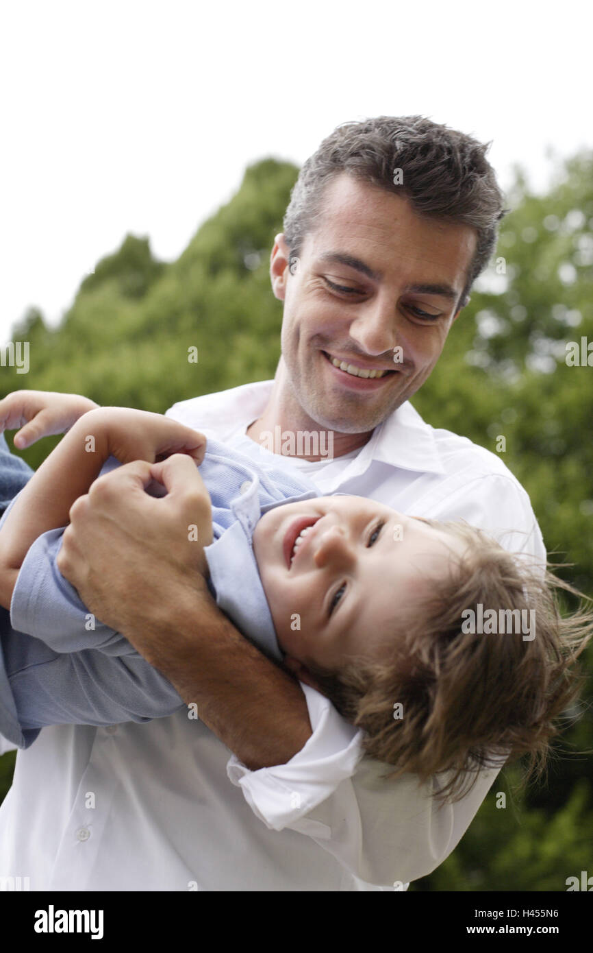 Father, son, leisure time, actively, outside, play, - Stock Image