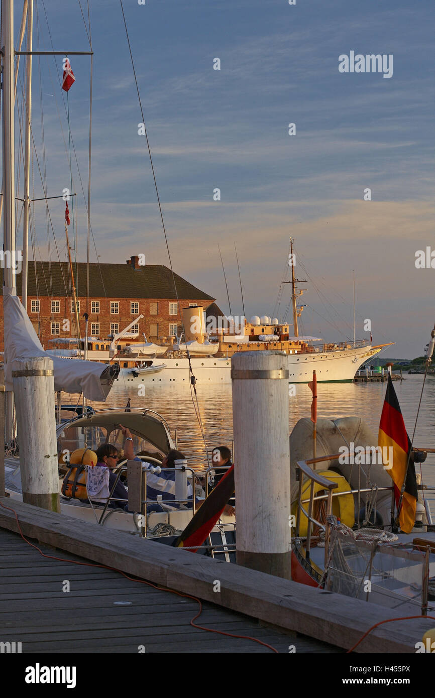 Denmark, Jutland, Sonderborg, harbour, pier, yachts, royal yacht 'Dannebrog', - Stock Image