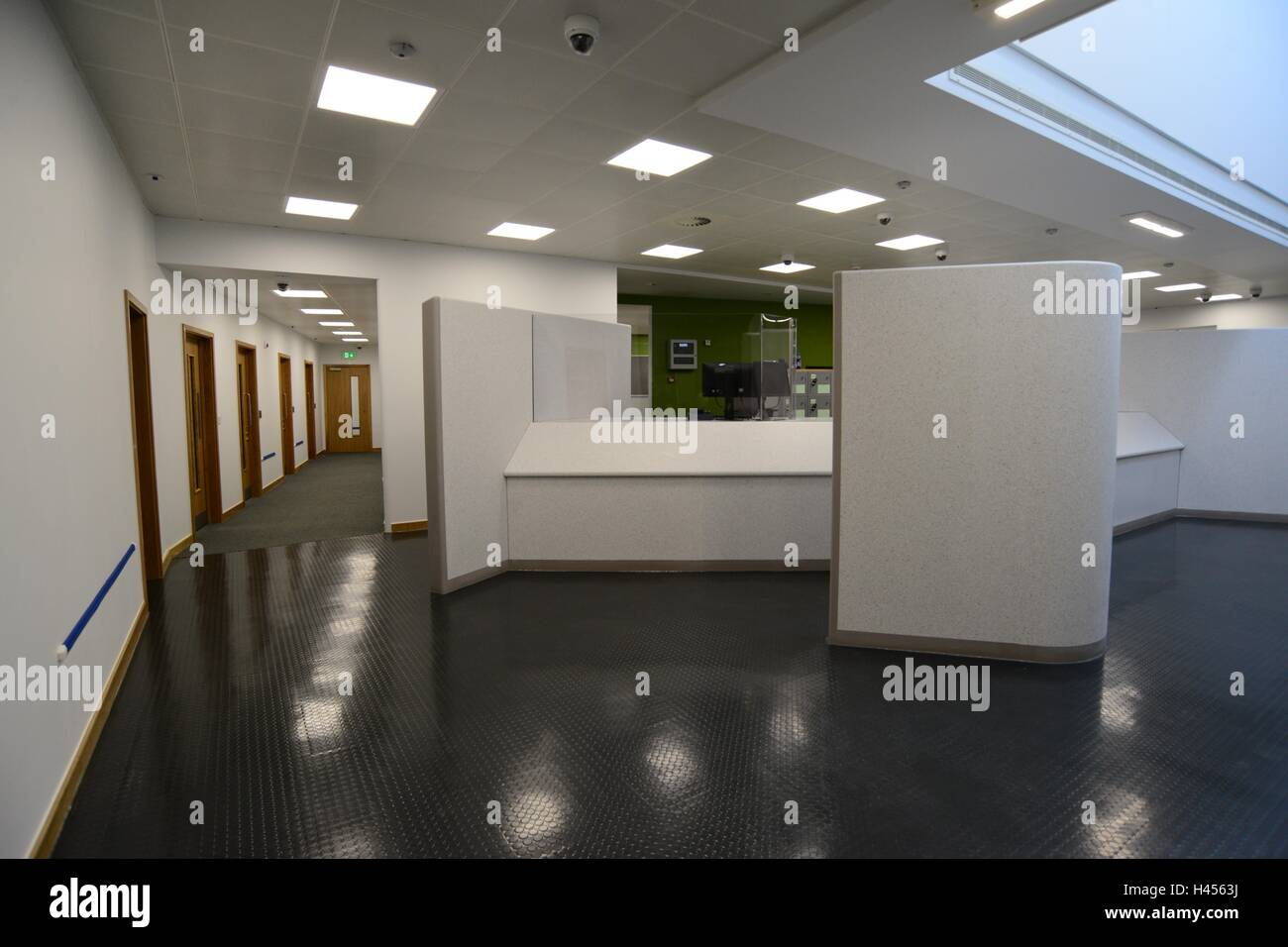 Inside the new custody suite at Barnsley Police Station, South Yorkshire, UK. - Stock Image