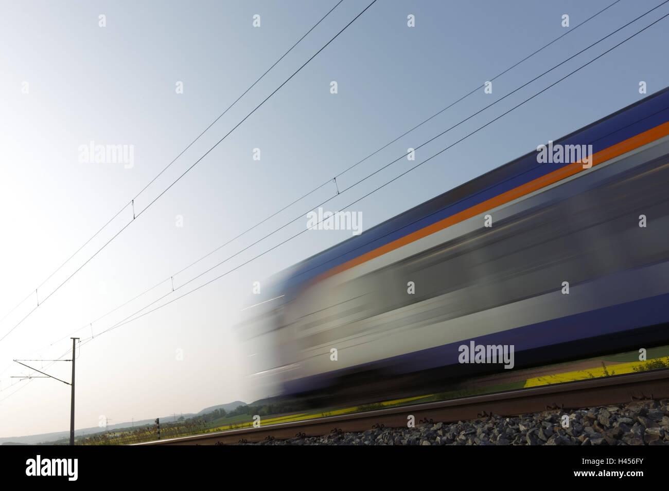 Rice train, blurs, back light, - Stock Image