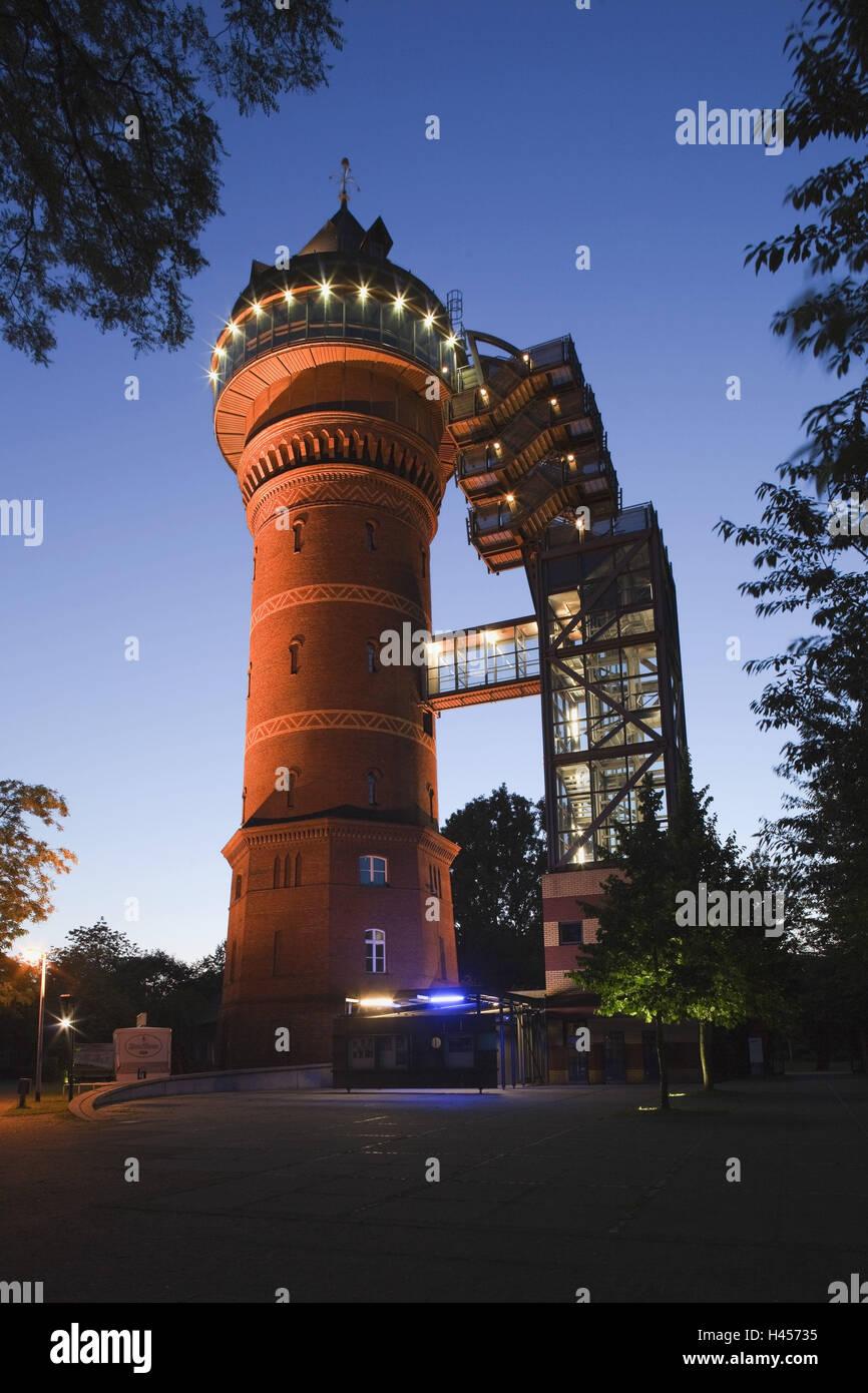 Germany, North Rhine-Westphalia, Mülheim at the Ruhr (region), Aquarius water museum, dusk, - Stock Image