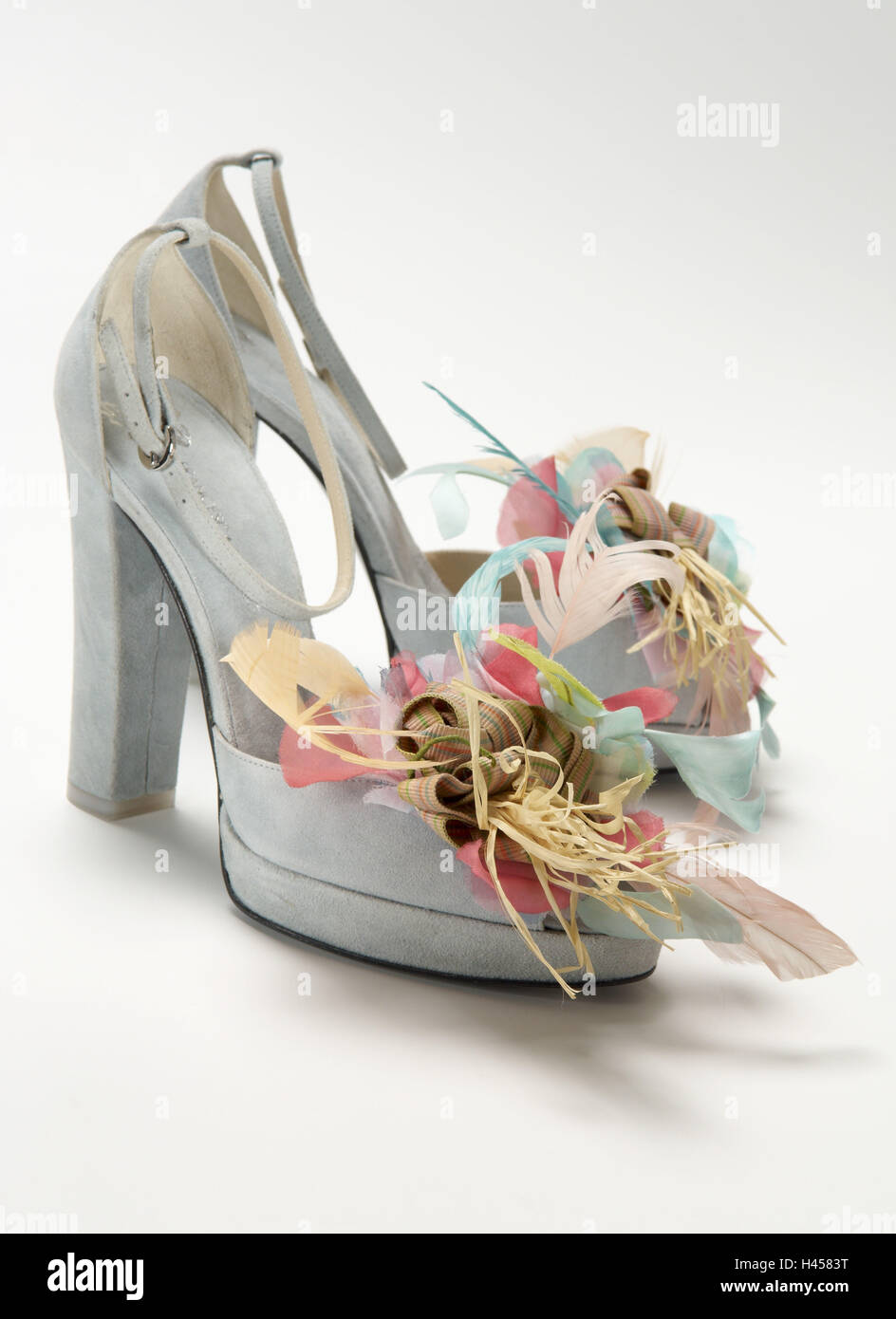 Lady's shoe, feather adornment, - Stock Image