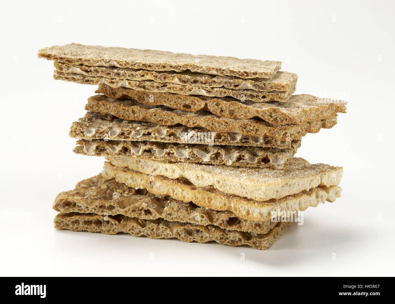 Crispbread, stack, different sorts, - Stock Image
