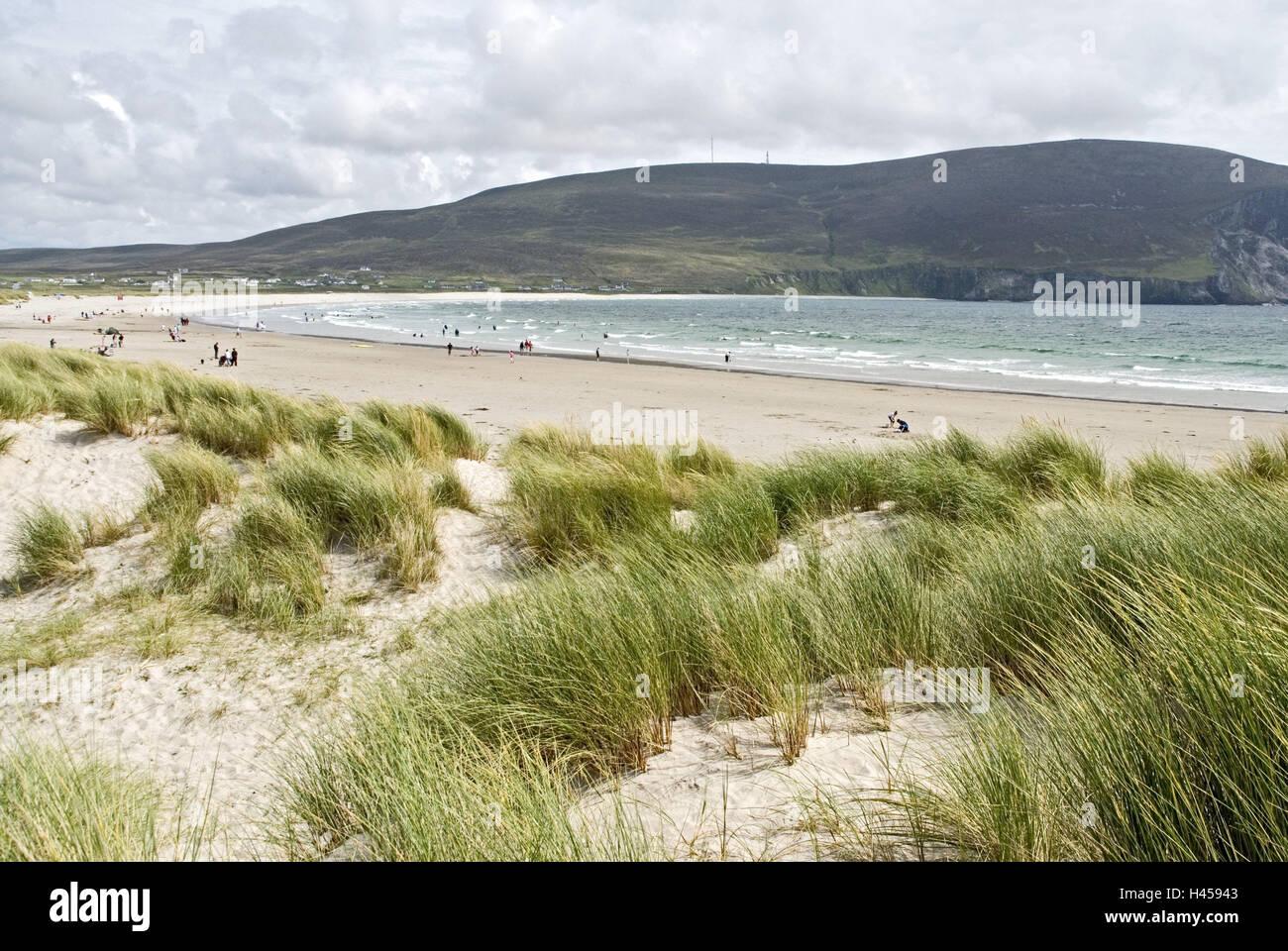 Ireland, Mayo, Achilles Iceland, Keel, beach, tourist, dune grass, Connacht, coast, sandy beach, dunes, sea, bay, - Stock Image