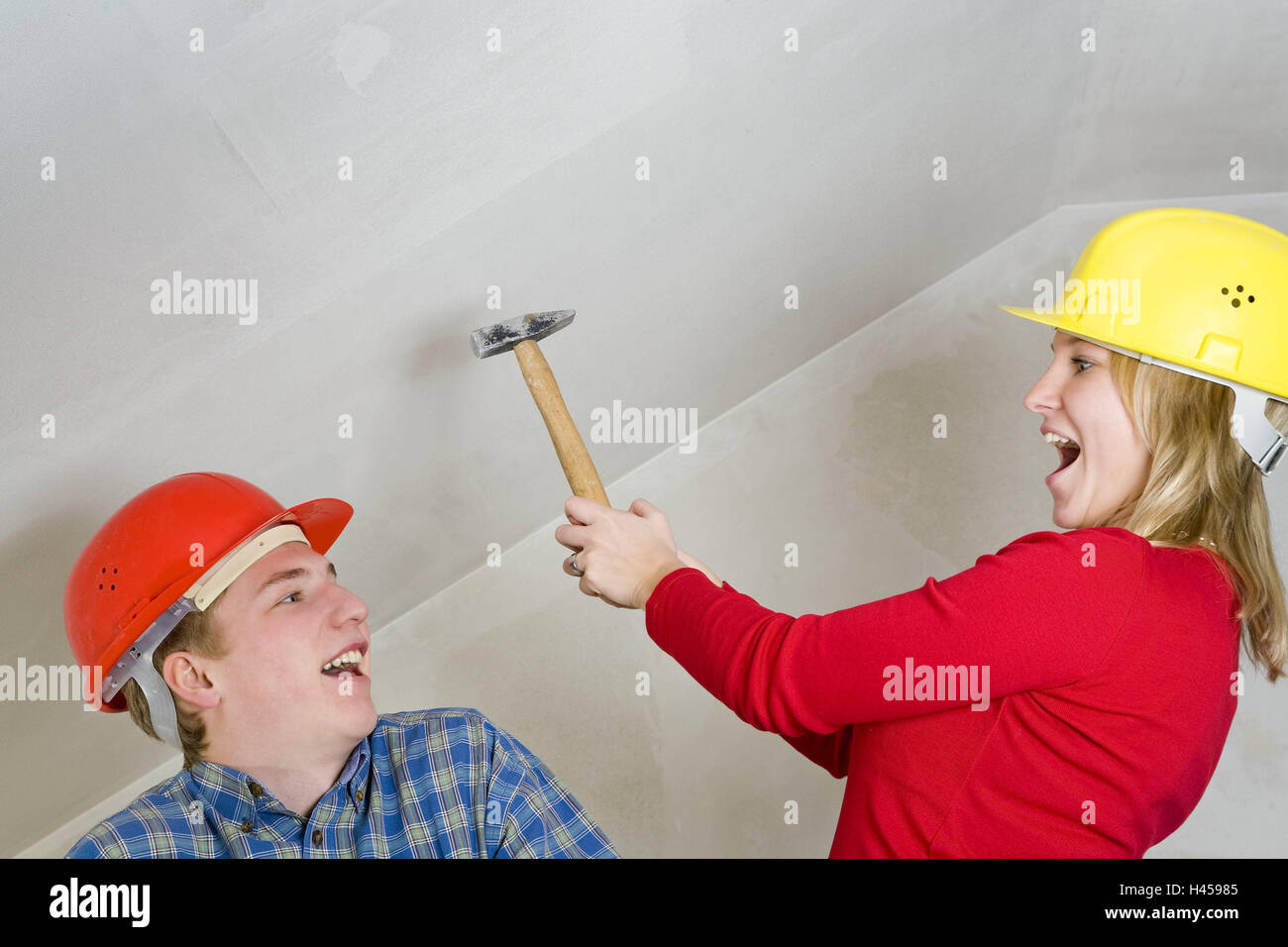 Th It Yourself Stock Photos Images Alamy Pics Do Electrician Couple Young Construction Helmets Fun Gesture Howler Icon