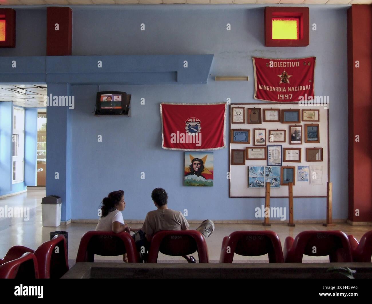 Waiting room, bus terminal, Varadero, Cuba, holiday destination, destination, the Caribbean, tourism, vacation, - Stock Image
