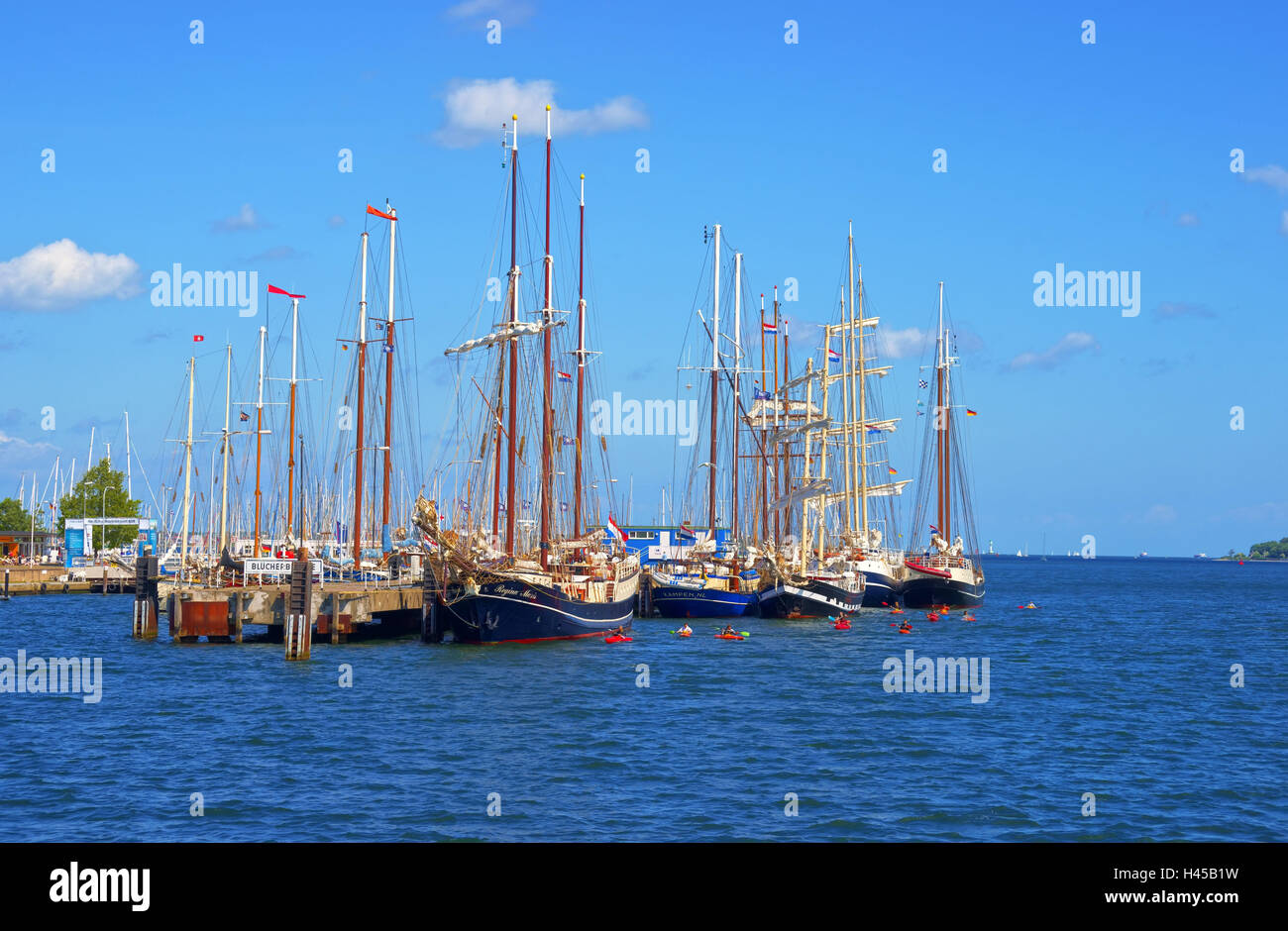 Germany, Schleswig - Holstein, Kiel, Oslo quay, sailboats, - Stock Image