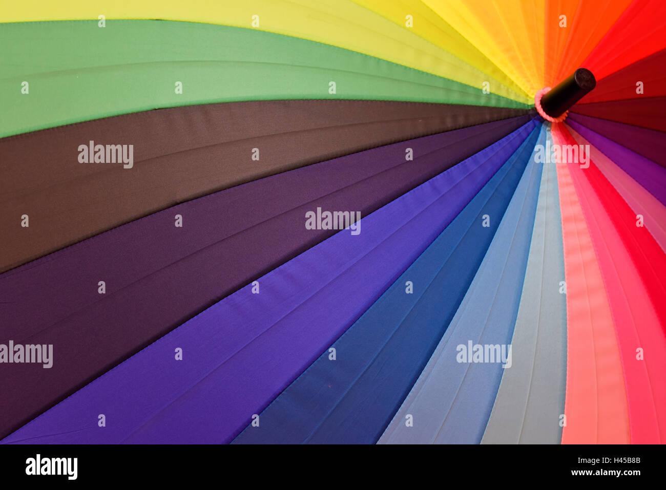 Bright umbrella with rainbow colors close-up Stock Photo