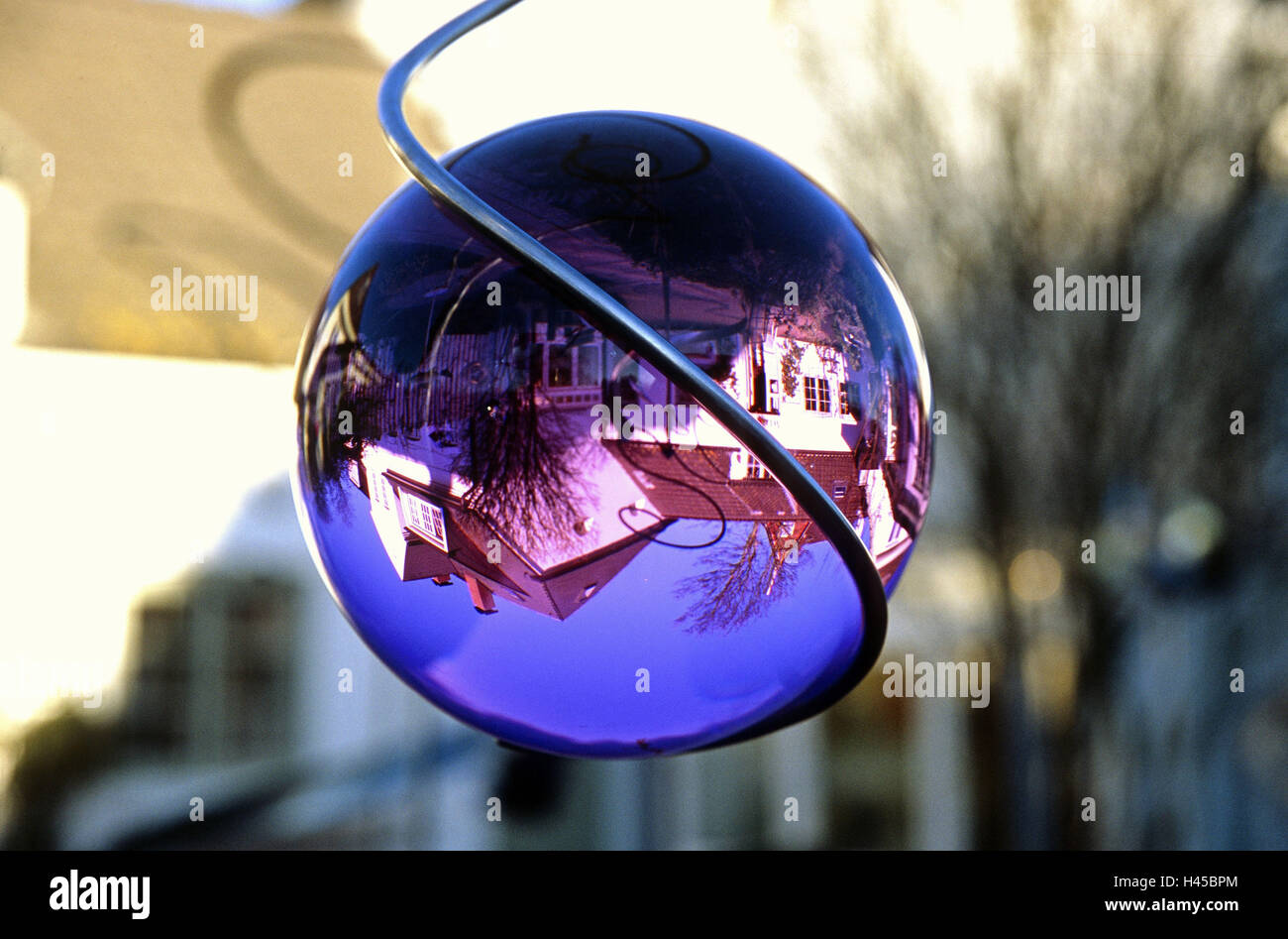 Garden, wind chime, spiral, detail, sphere, reflection, residential house, Stock Photo