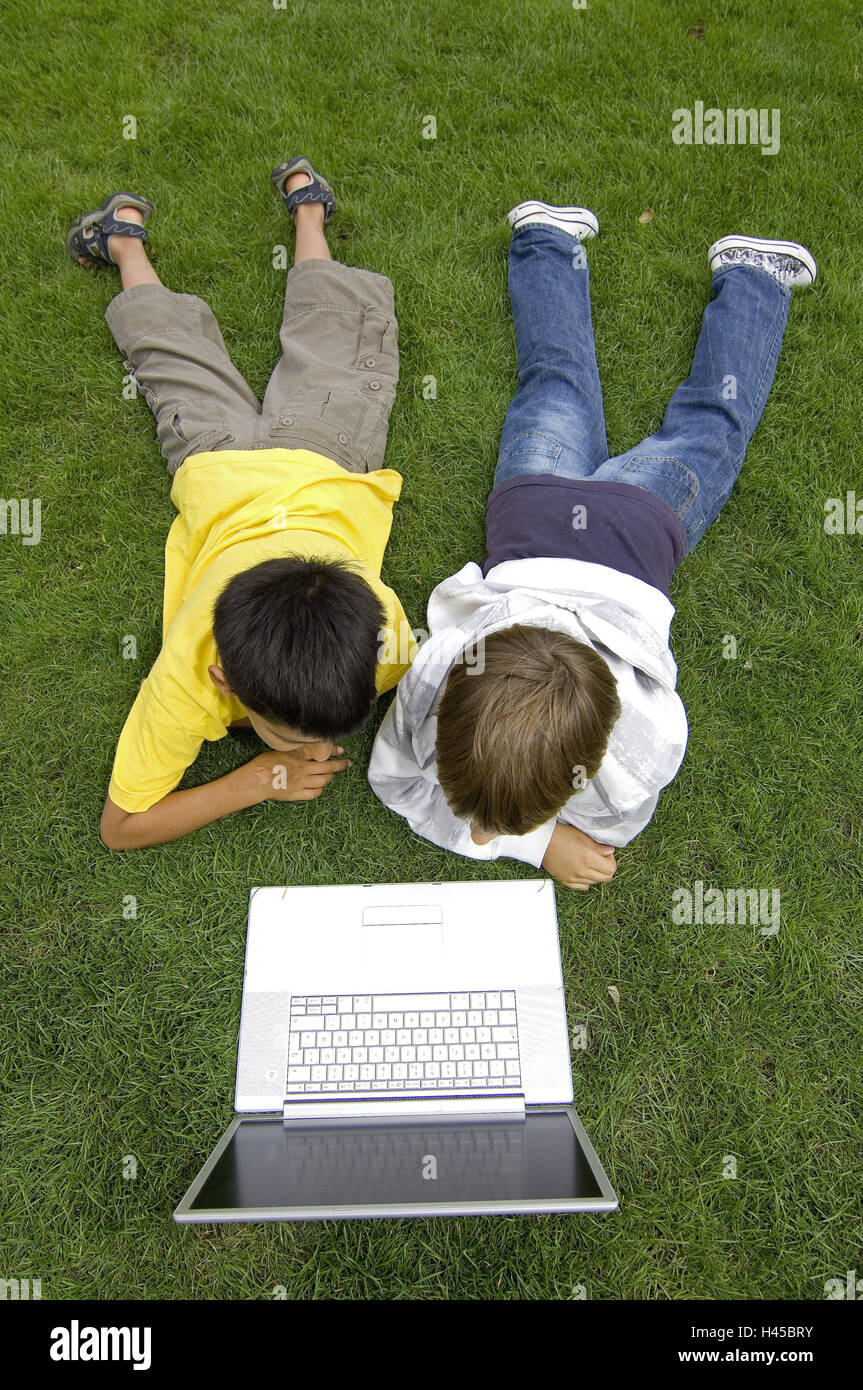 Boys, two, turfs, lie, play laptop, from above, model released, people, children, friends, learn, outside, meadow, - Stock Image