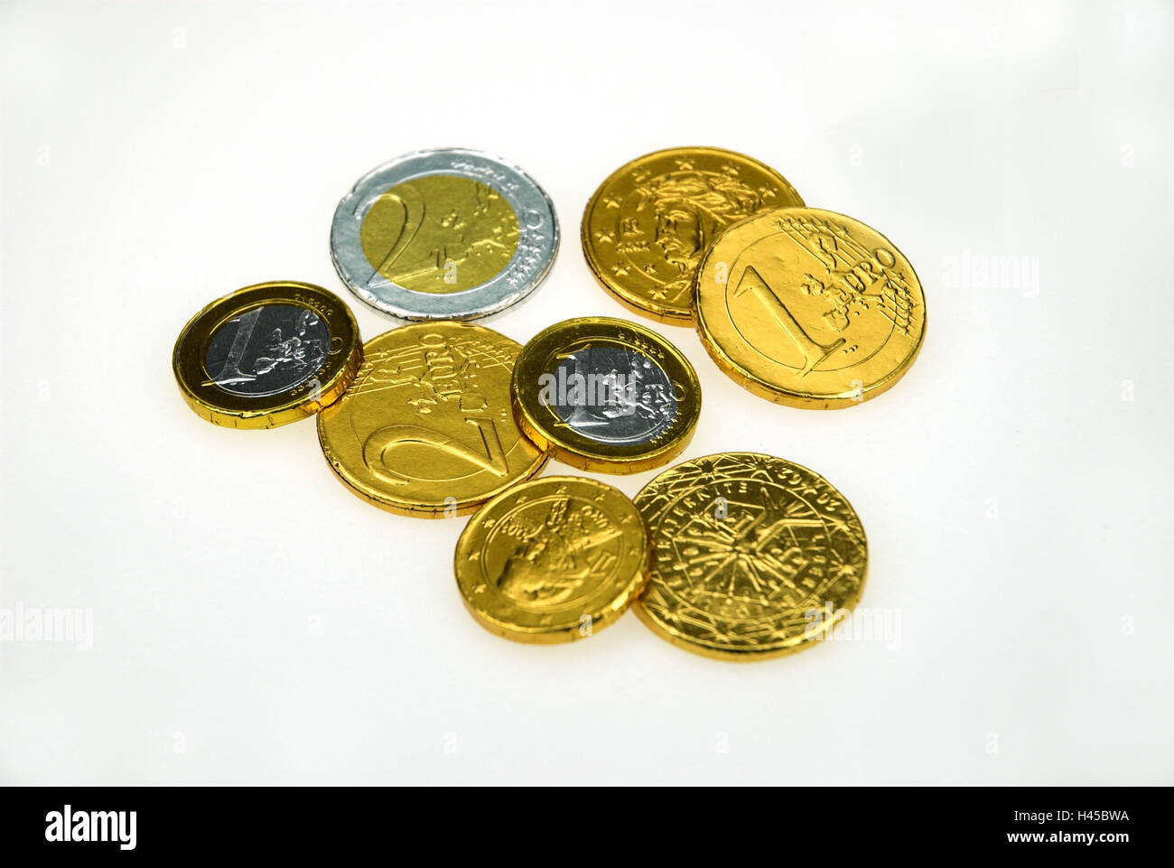Chocolate thaler, euro coins, - Stock Image
