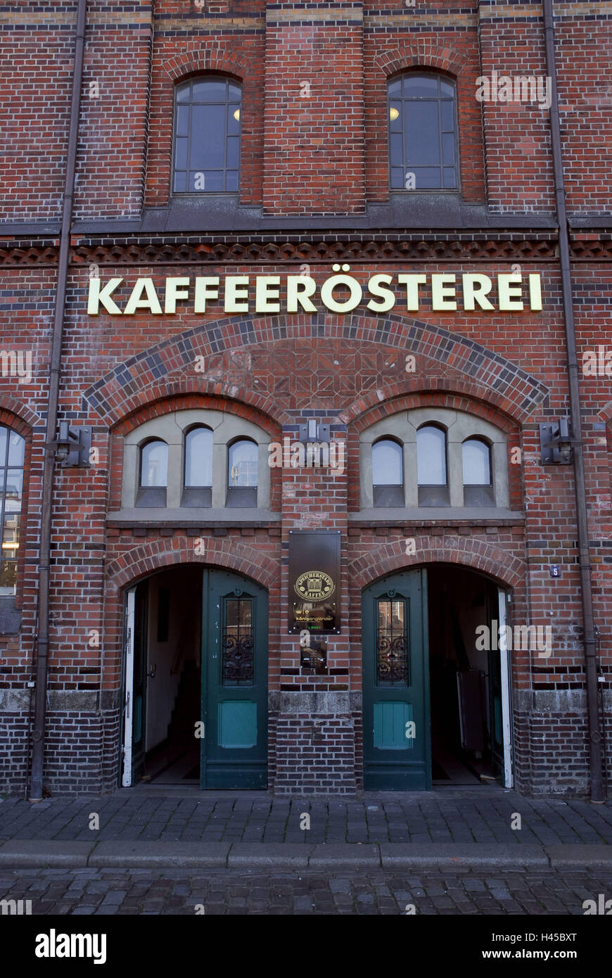 Germany, Hamburg, Speicherstadt (district), brick building, coffee roasters, facade, detail, - Stock Image