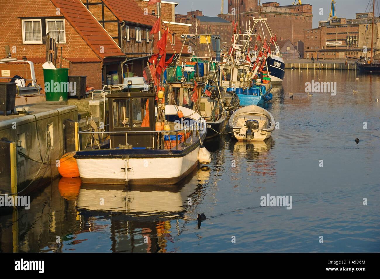 Germany, Mecklenburg-West Pomerania, Wismar, harbour, boots, Stock Photo