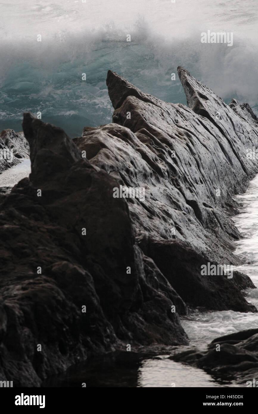 Spain, the Canaries, island Lanzarote, El Golfo, rock formation, - Stock Image