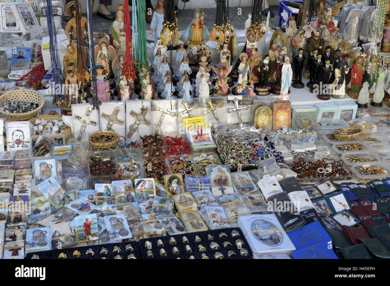Spain, Canary islands, island grain Canaria, Teror, pawn market, market stall, sales, devotional objects, - Stock Image