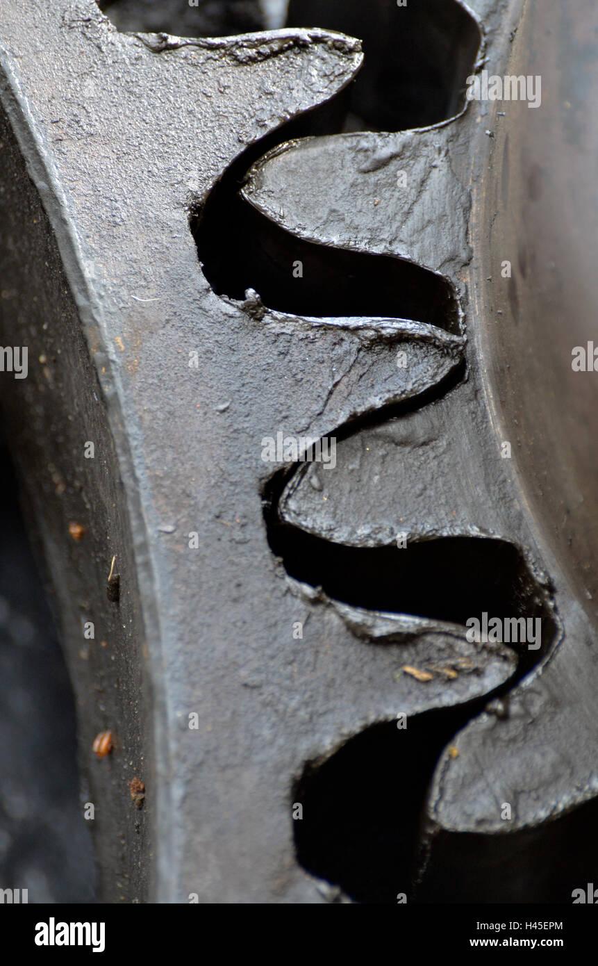 meshing gear wheels - Stock Image