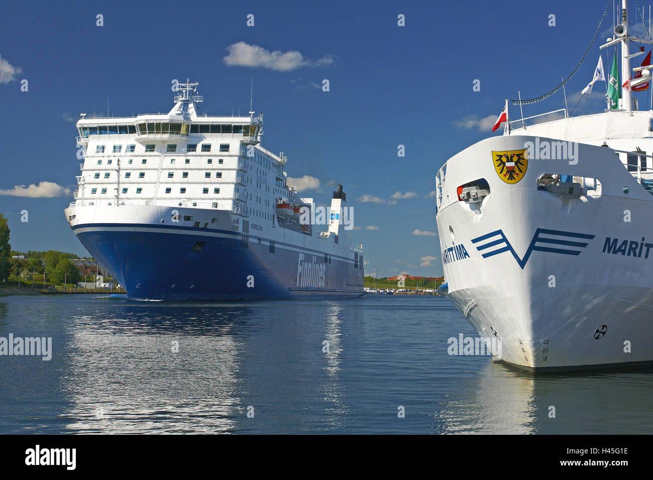 Germany, Schleswig - Holstein, Travemünde, harbour, ferry, holiday ship, - Stock Image