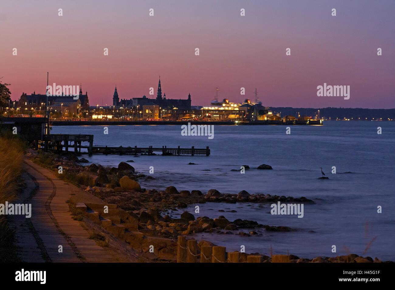 Denmark, Helsingoer, ferry, harbour, evening, fortress Castle Kron, - Stock Image