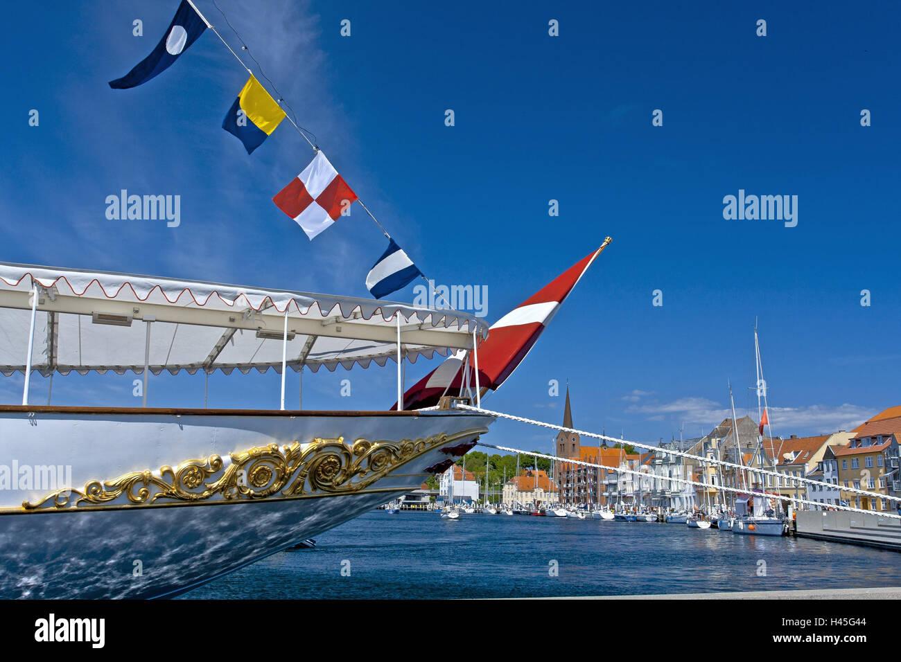 Denmark, Jutland, Soenderborg, harbour, royal yacht 'Dannebrog', detail, rear, flags, - Stock Image