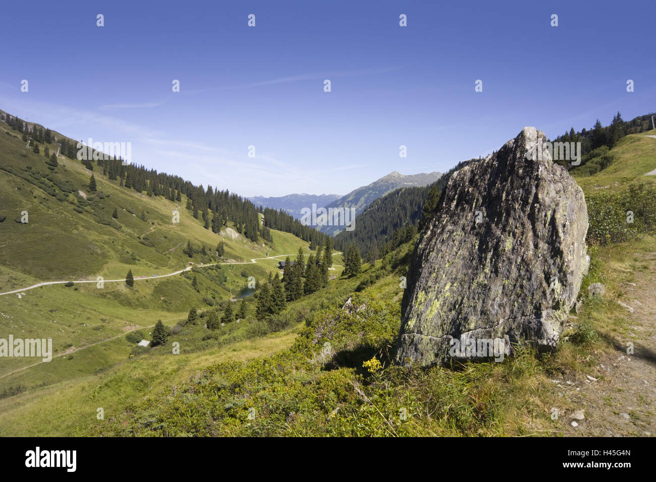Austria, Montafon, mountain landscape, footpaths, - Stock Image