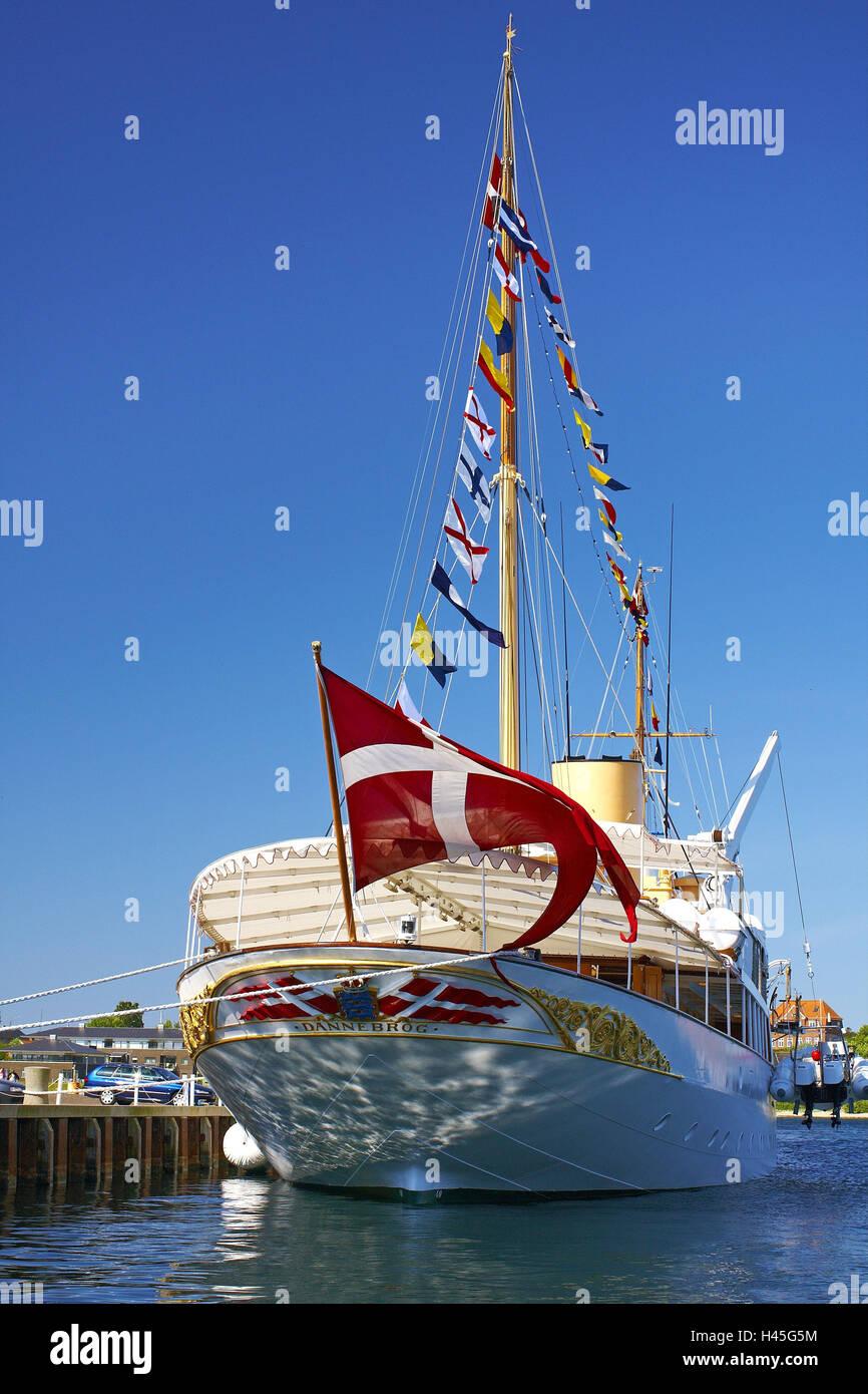 Denmark, Jutland, Soenderborg, harbour, royal yacht 'Dannebrog', - Stock Image