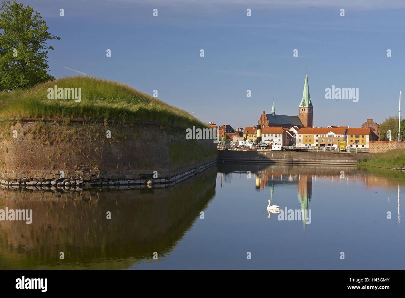 Denmark, Helsingoer, fortress, swan, water jump, townscape, Nikolaikirche, - Stock Image