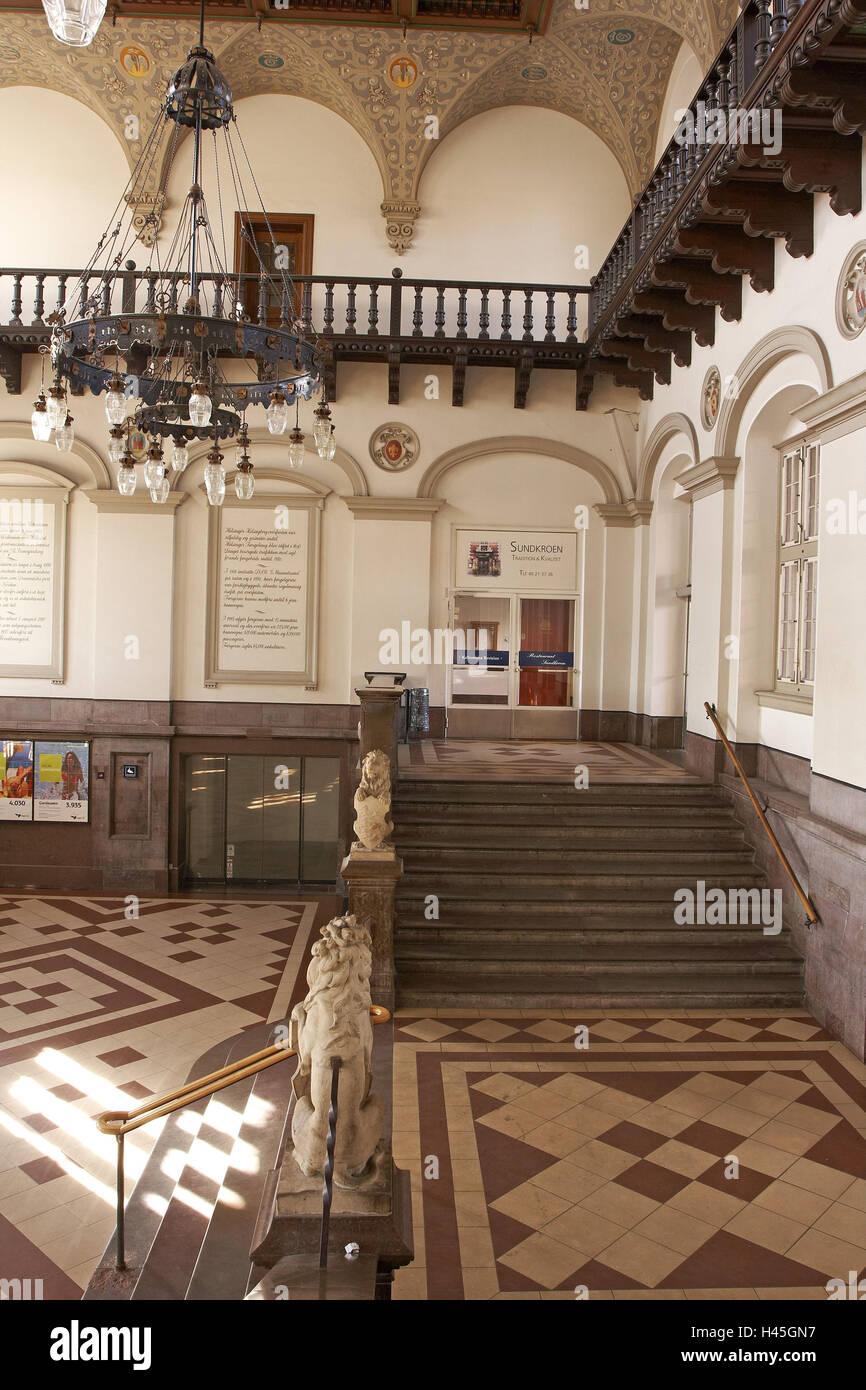Denmark, Helsingoer, central station, inside, foyer, stairs, chandelier, - Stock Image