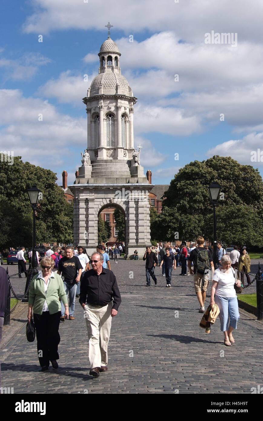 Ireland, Dublin, Trinity College, campanile, - Stock Image